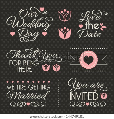 Set of stickers and ribbons, wedding design elements, vector illustration - stock vector