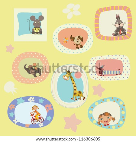 set of stickers, cards for the children - stock vector
