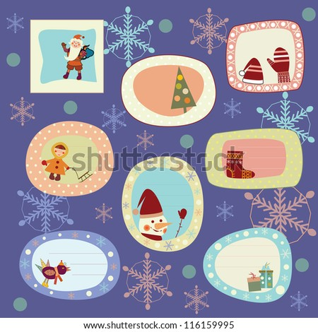 set of stickers, cards for the new year - stock vector