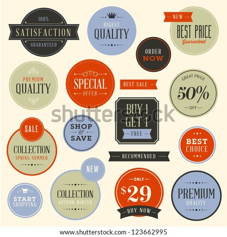 Set of stickers for fashion and beauty products - stock vector