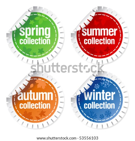 Set of stickers for seasonal collection - stock vector