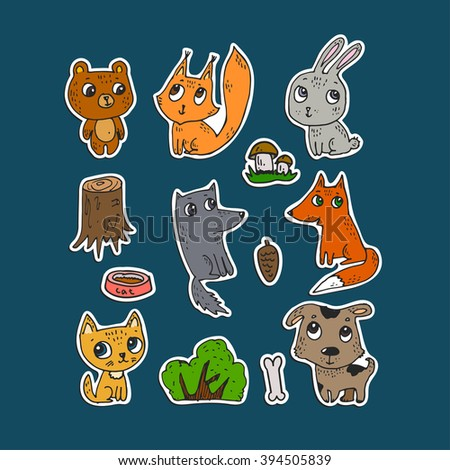 Set of stickers for the kids. Cute animals, hand drawn. Pets: a cat and a dog. Wild animals: bear, fox, squirrel, rabbit and the wolf.