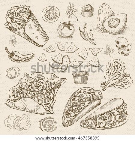 Set of stickers in sketch style, food and spices, old paper textured background. Fast food. Mexican food. Taco, burrito, ingredients, mushrooms, tomato, pepper, onion, salad.