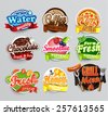set of stickers of food    farm ...