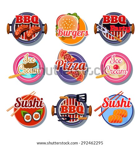 Set of stickers of food vector illustration