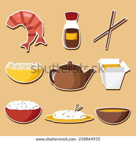 Set of stickers on Chinese cuisine theme for your design  - stock vector