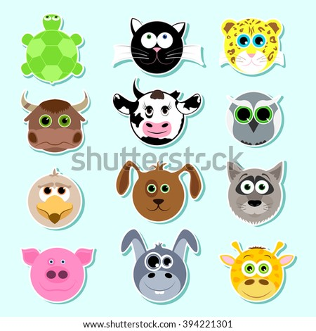 Set of stickers. Set of cute cartoon animals. Set 1.