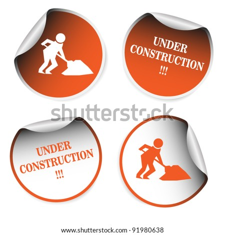 Set of stickers - under construction - stock vector