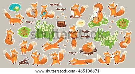 Set of stickers with cute little foxes, flowers, berries and herbs and hand drawn lettering