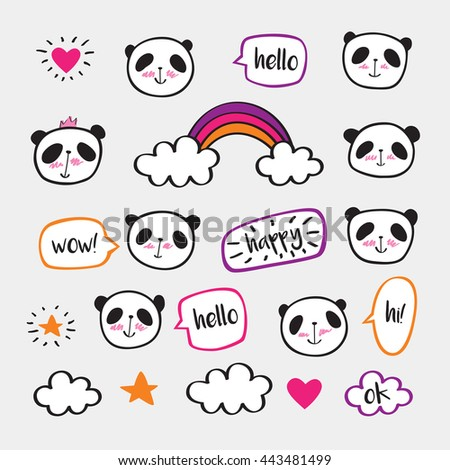 Set of stickers with cute pandas and bubbles. Badges for clothing. Doodles, sketch for your design. Hand drawing. Vector. - stock vector