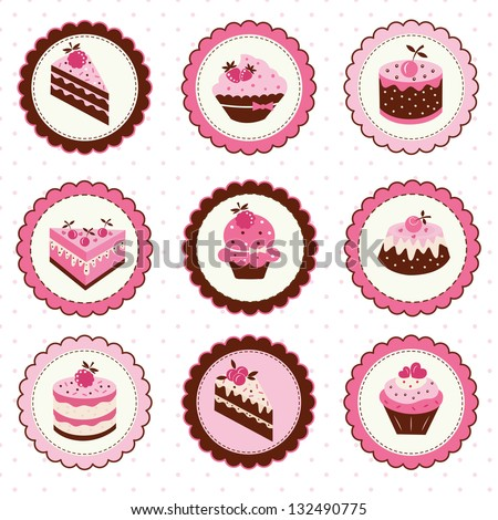 Set of  stickers with fruit cakes - stock vector