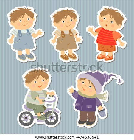 set of stickers with little boys