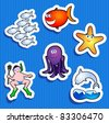 Set of stickers with maritime subjects, vector icons - stock vector