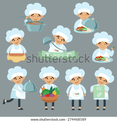 Set of stickers with nine a little cooks - stock vector