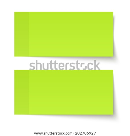 Set of sticky notes green - stock vector