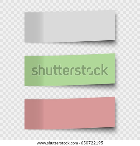 Set of sticky notes or Office paper sheets isolated on transparent background.