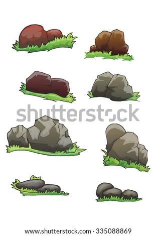 set of stone with grass isolated on white - stock vector