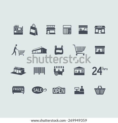 Set of store icons - stock vector