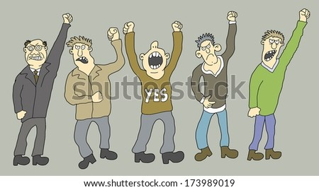 Set of 5 Striking People - one from the series of similar images - stock vector