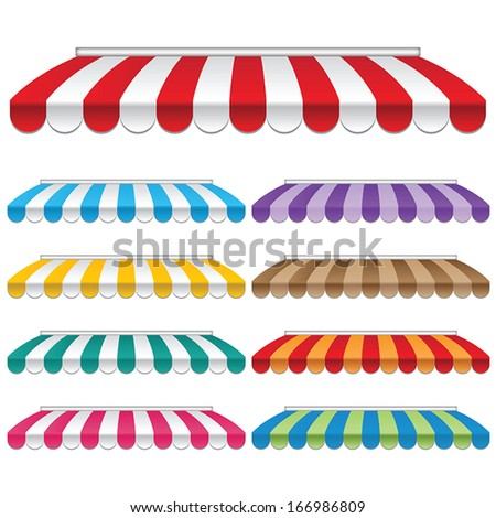 set of strip colorful awnings for shop. vector. - stock vector