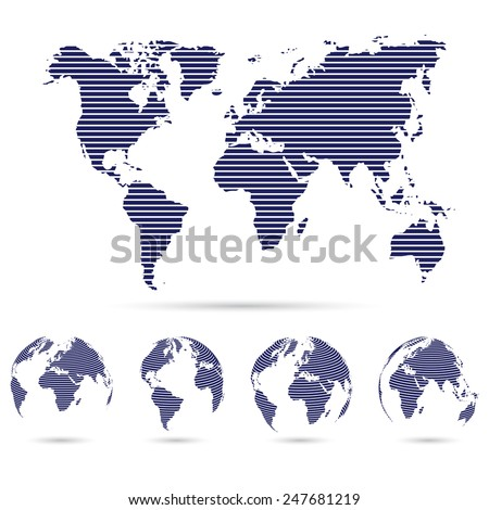 Set of strip world maps ,education and business background concept . Vector illustration - stock vector