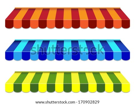 set of striped awnings - stock vector