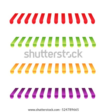 Set of striped awnings for shop and marketplace. vector illustration