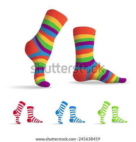 Set of striped multicolor socks, illustration - stock vector