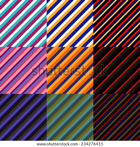 Set of striped seamless colored patterns