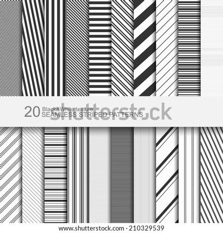 Set of striped seamless patterns, black and white texture, vector eps10 - stock vector
