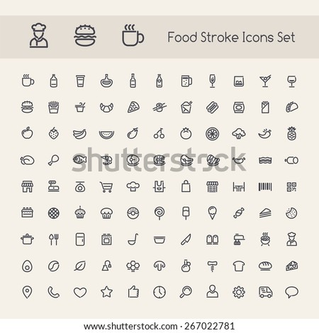 Set of Stroke Food Icons. Isolated on White Background. - stock vector