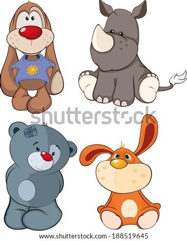 Set of stuffed toys cartoon  - stock vector