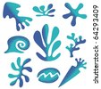 set of styled sea plants and animals - stock vector