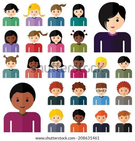 Set of stylish avatars of girls and boys in flat design. Vector illustration - stock vector
