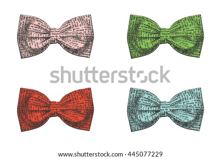 Set of stylish bow ties on a white background. Vector