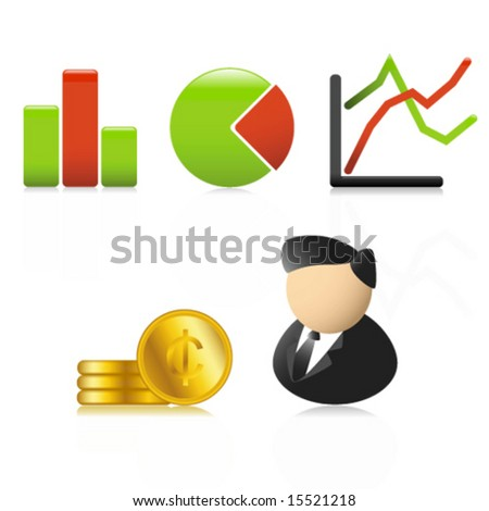 Set of stylish business icons (Vector) - stock vector