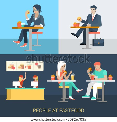 Set of stylish businessman businesswoman manager secretary stylish casual couple sitting fastfood table. Flat people lifestyle situation fast food cafe restaurant meal time concept. Creative human. - stock vector