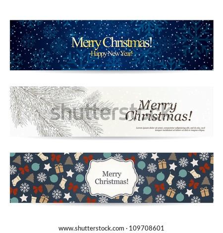 Set of stylish Christmas banners - stock vector