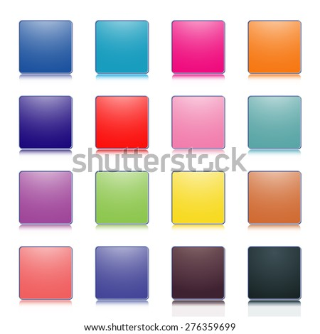 Set of stylish colored buttons, square shape, rounded corners with a mirror image, vector illustration.