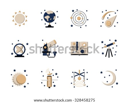 Set of stylish flat vector icons and signs for astronomy. Science and educational symbols. Web design elements. - stock vector