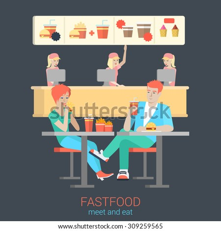 Set of stylish happy smiling flirt boy girl couple figures sitting fastfood table eating burger fries. Flat people lifestyle situation fast food cafe restaurant meal time concept - stock vector