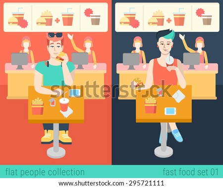 Set of stylish hipster boy and girl sitting fastfood table. Flat people lifestyle situation in fast food cafe restaurant meal time concept. Vector illustration collection of young creative humans. - stock vector