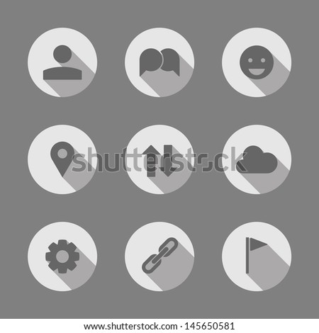 Set of 9 Stylish Minimal Icons - stock vector