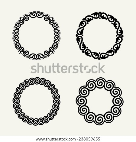 Set of stylish, simple and graceful  floral monochrome round monogram design - stock vector