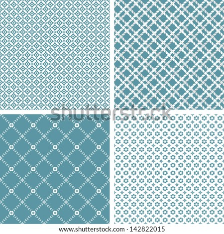 Set of 4 stylish simple pattern. A seamless vector background. White texture. - stock vector