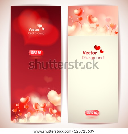 Set of 2 stylish vector cards with hearts. - stock vector
