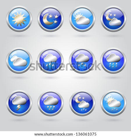 Set of stylish weather icon buttons for web