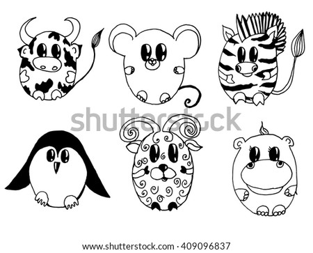Line Drawing Of Child S Face : Set stylized animals cartoon childrens stock vector