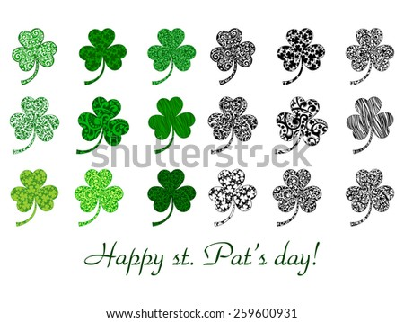 Set of stylized clover leaves isolated on white. Vector Illustration - stock vector