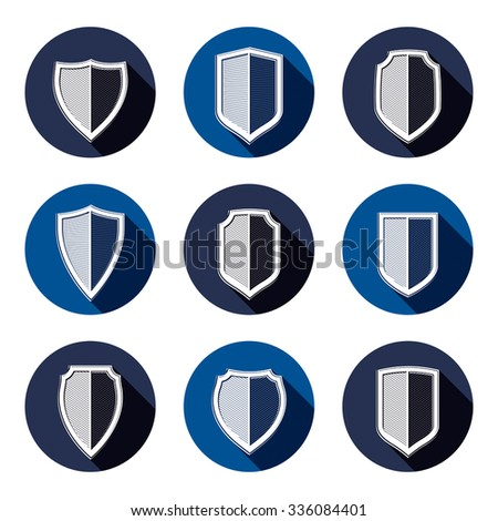 Set of stylized coat of arms, decorative defense shields collection. Heraldic vector symbols, Protection and security idea. - stock vector